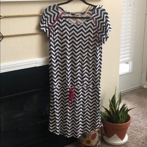 Navy and white chevron dress with pink accents